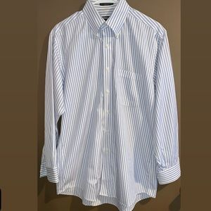 Kirkland men's dress shirt blue & white striped